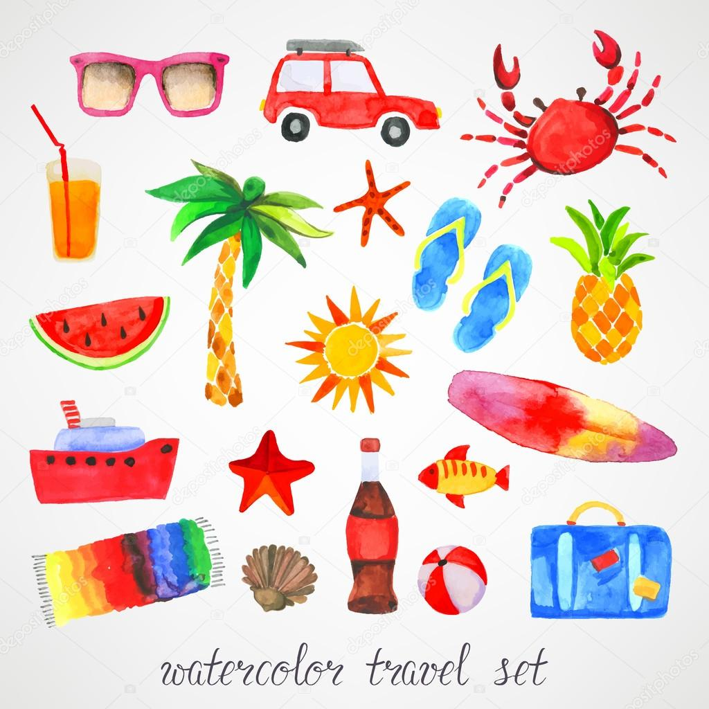Summer travel watercolor set