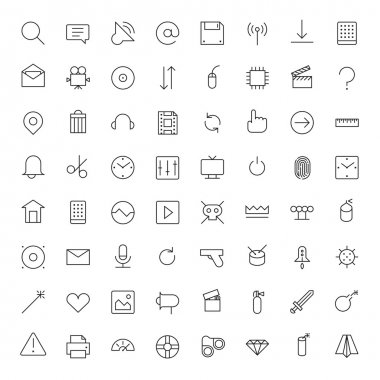 Thin Line Icons For Interface