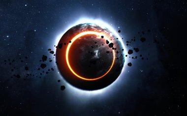 """Картина, постер, плакат, фотообои """"Абстрактный фон научно - светящийся планеты Земля в пространстве, солнечное затмение, туманность и звёзд. Элементы этого изображения, представленной НАСА"""", артикул 100016566"""