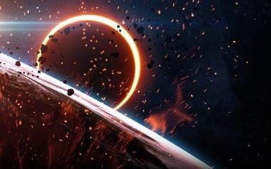 """Картина, постер, плакат, фотообои """"Абстрактный фон научно - светящийся планеты Земля в пространстве, солнечное затмение, туманность и звёзд. Элементы этого изображения, представленной НАСА"""", артикул 100016610"""