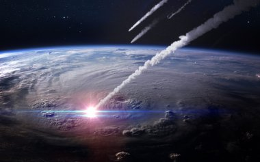 Meteor shower in the Earths atmosphere. Elements of this image furnished by NASA