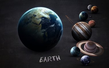 Earth - High resolution images presents planets of the solar system on chalkboard. This image elements furnished by NASA