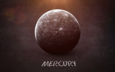 Mercury - High resolution images presents planets of the solar system on chalkboard. This image elements furnished by NASA