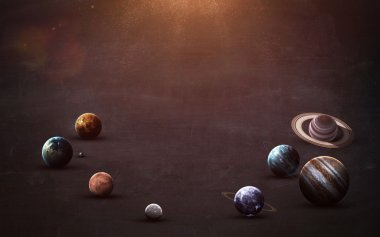 High resolution images presents planets of the solar system on chalkboard. This image elements furnished by NASA