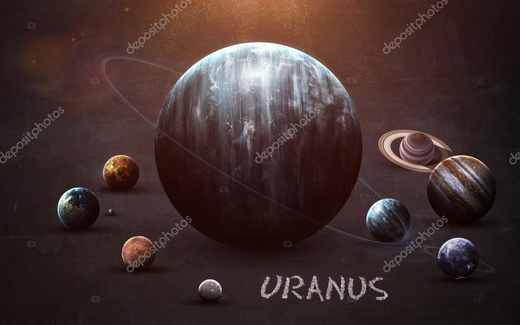 Uranus - High resolution images presents planets of the solar system on chalkboard. This image elements furnished by NASA