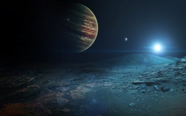 View of Jupiter from Ganymede. Elements of this image furnished by NASA
