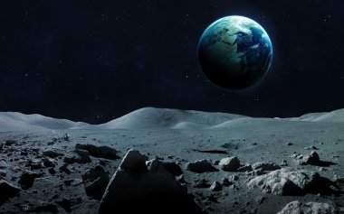 View of Earth from moon. Elements of this image furnished by NASA