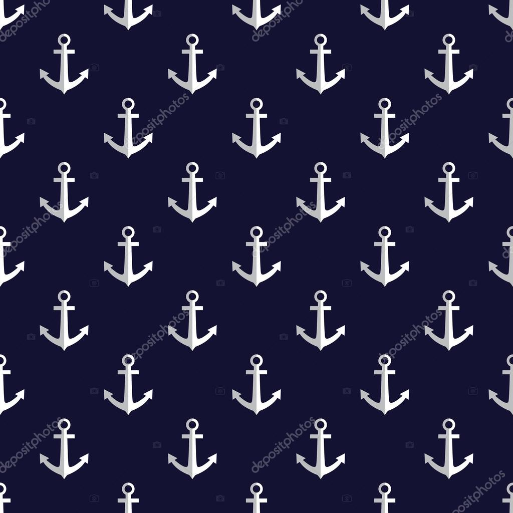 Sea style seamless vector pattern with anchors