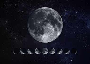 Moon Phases. Elements of this image furnished by NASA
