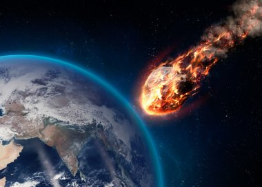 A Meteor glowing as it enters the Earths atmosphere. Elements of this image furnished by NASA