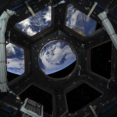 Earth planet in space ship window porthole