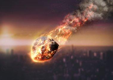 Meteor glowing as it enters the Earths atmosphere