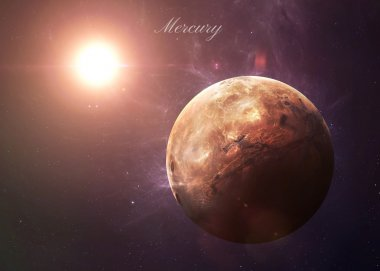 The Mercury from space showing all they beauty. Extremely detailed image, including elements furnished by NASA. Other orientations and planets available.