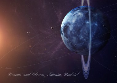 The Uranus with moons from space showing all they beauty. Extremely detailed image, including elements furnished by NASA. Other orientations and planets available.