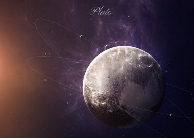 The Pluto with moons from space showing all they beauty. Extremely detailed image, including elements furnished by NASA. Other orientations and planets available.