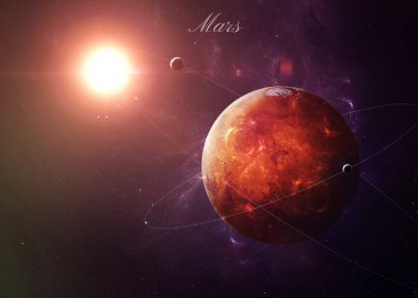 The Mars from space showing all they beauty. Extremely detailed image, including elements furnished by NASA. Other orientations and planets available.