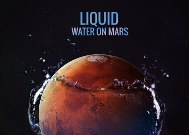 Discovered liquid water on the planet mars, great science discovery. Elements of this image furnished by NASA