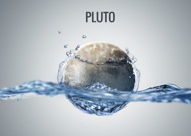 Solar system planet drops in to the water with splash. Elements of this image furnished by NASA