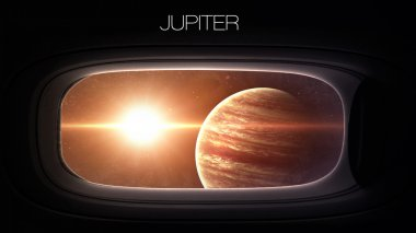 Jupiter - Beauty of solar system planet in spaceship window porthole. Elements of this image furnished by NASA