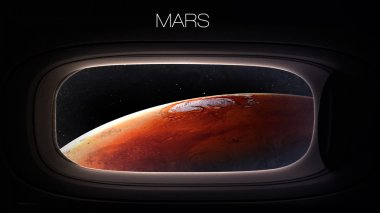 Mars - Beauty of solar system planet in spaceship window porthole. Elements of this image furnished by NASA