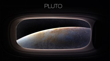 Pluto - Beauty of solar system planet in spaceship window porthole. Elements of this image furnished by NASA