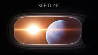 Neptune - Beauty of solar system planet in spaceship window porthole. Elements of this image furnished by NASA