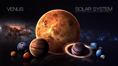 Venus - 5K resolution Infographic presents one of the solar system planet. This image elements furnished by NASA.