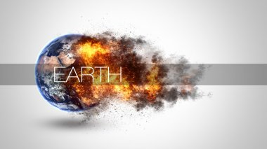 Abstract apocalyptic background - burning and exploding planet Earth. Elements of this image furnished by NASA