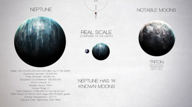 Neptune - High resolution infographics about solar system planet and its moons. All the planets available. This image elements furnished by NASA.