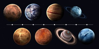 Solar system planets, pluto and sun in highest quality and resolution. Elements of this image furnished by NASA
