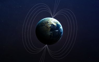 Planet Earths magnetic field. This image elements furnished by NASA.