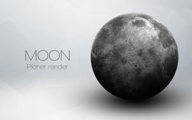 Moon - High resolution 3D images presents planets of the solar system. This image elements furnished by NASA.