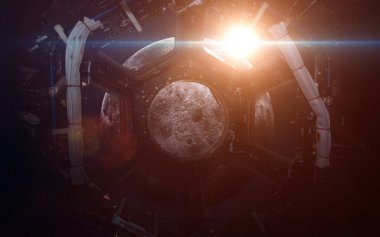 A round window on a space station. This image elements furnished by NASA