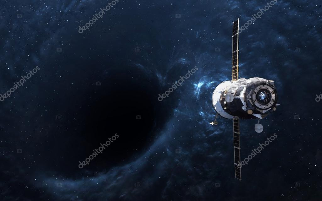 Black hole in space and spacecraft. Elements of this image furnished by NASA