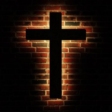Wooden cross with the light on the brick wall stock vector