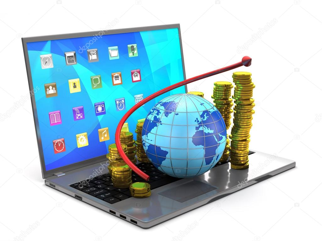 Globe tablet pc gold coins and red arrow stock photo globe tablet pc gold coins and red arrow on white background photo by fkdkondmi voltagebd Images