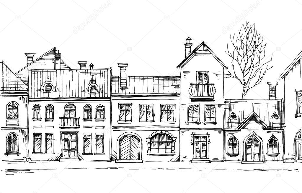 Calle de la ciudad, edificios lineales, vista frontal — Vector de ...