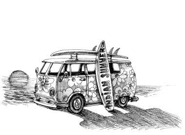 Surf van on the beach. Hand drawn vector