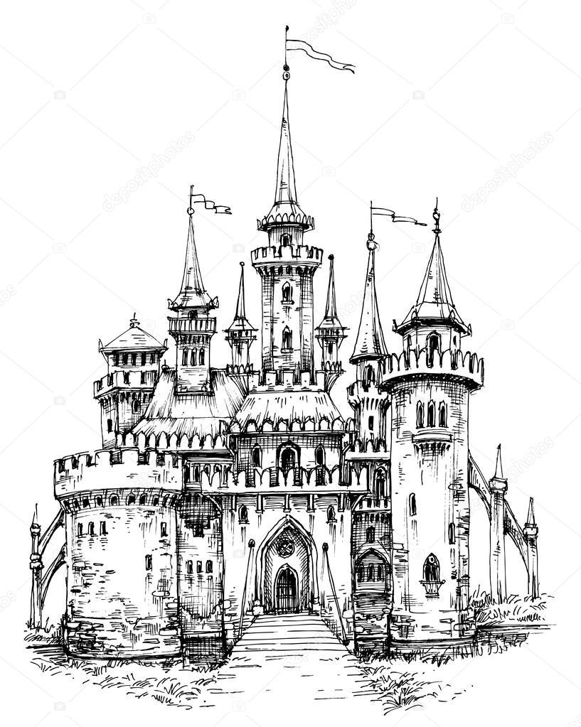 Vista frontal del castillo de vector. Dibujo a mano lápiz, listo ...