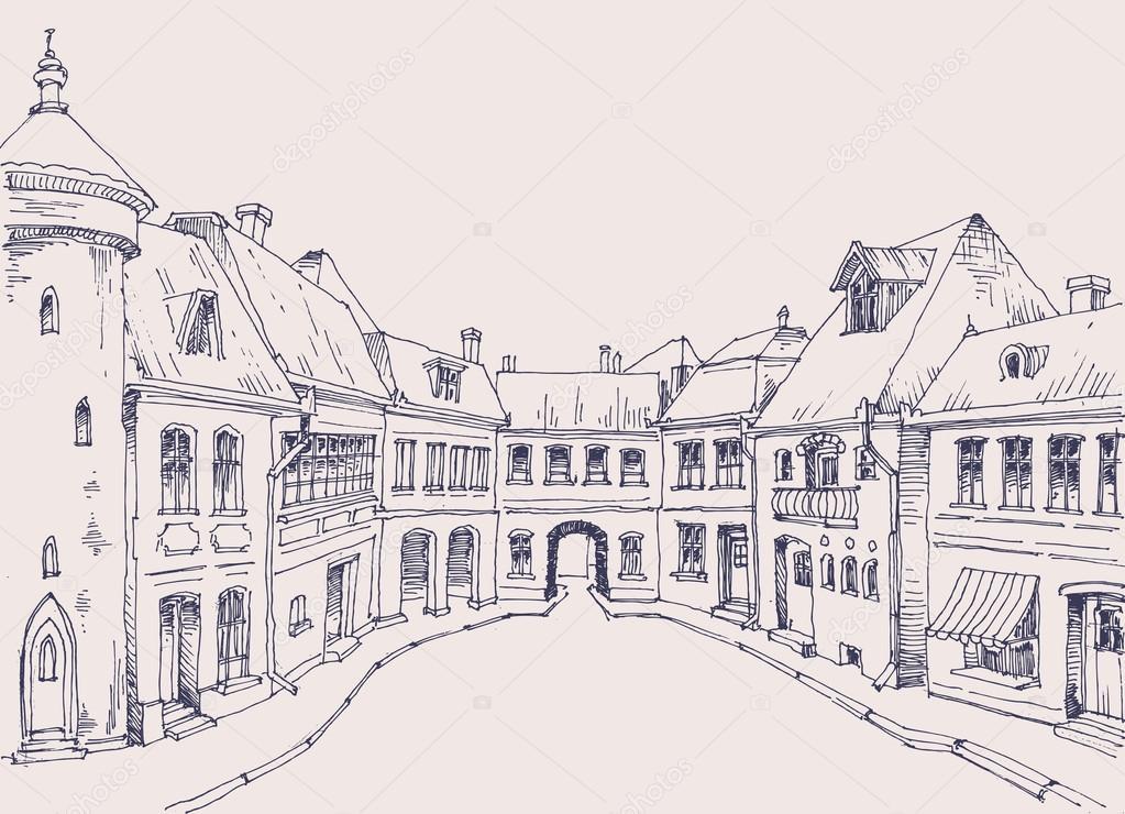 Calle de la ciudad, croquis de edificios de estilo retro, fondo ...