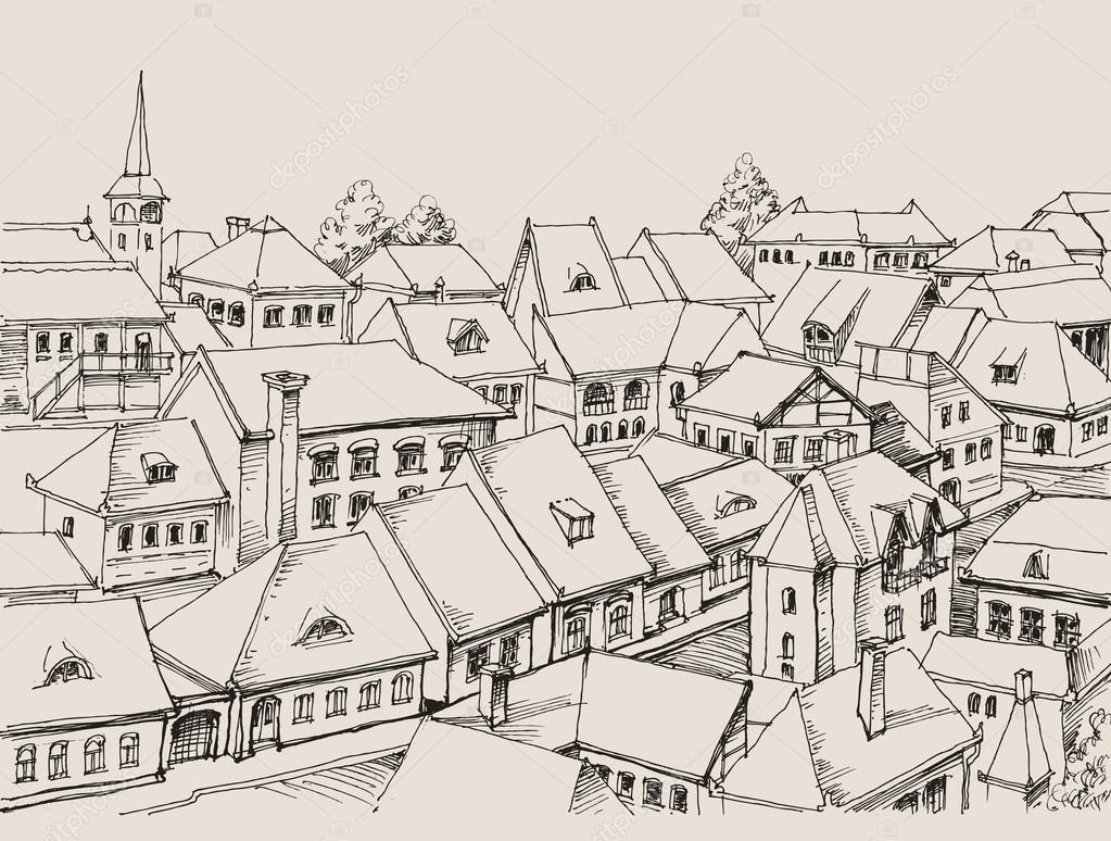 toit de maison dessin Les toits de maison dessin, petit paysage urbainu2013 illustration de stock