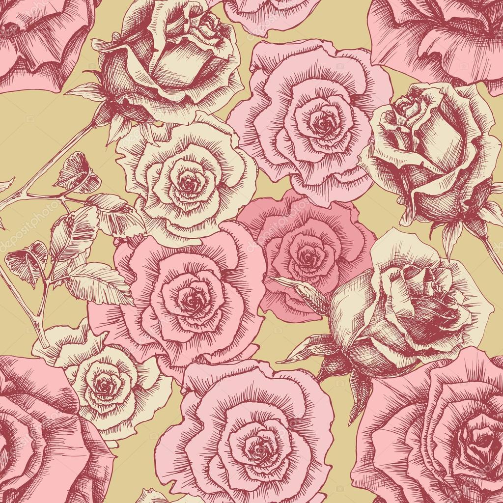 Patr n de rosas vintage estampado floral vector de for Imagenes retro vintage