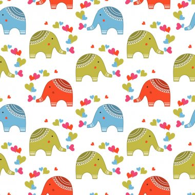 Cute elephants in love pattern. Animals print for children stock vector