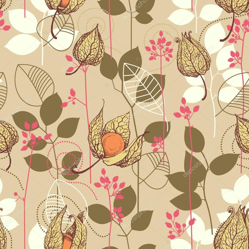 Herbst-Muster. Früchte und Blätter im Herbst Farben-Hintergrund ...