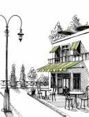 ulice pohled retro city restaurace terasa, vektorové skica