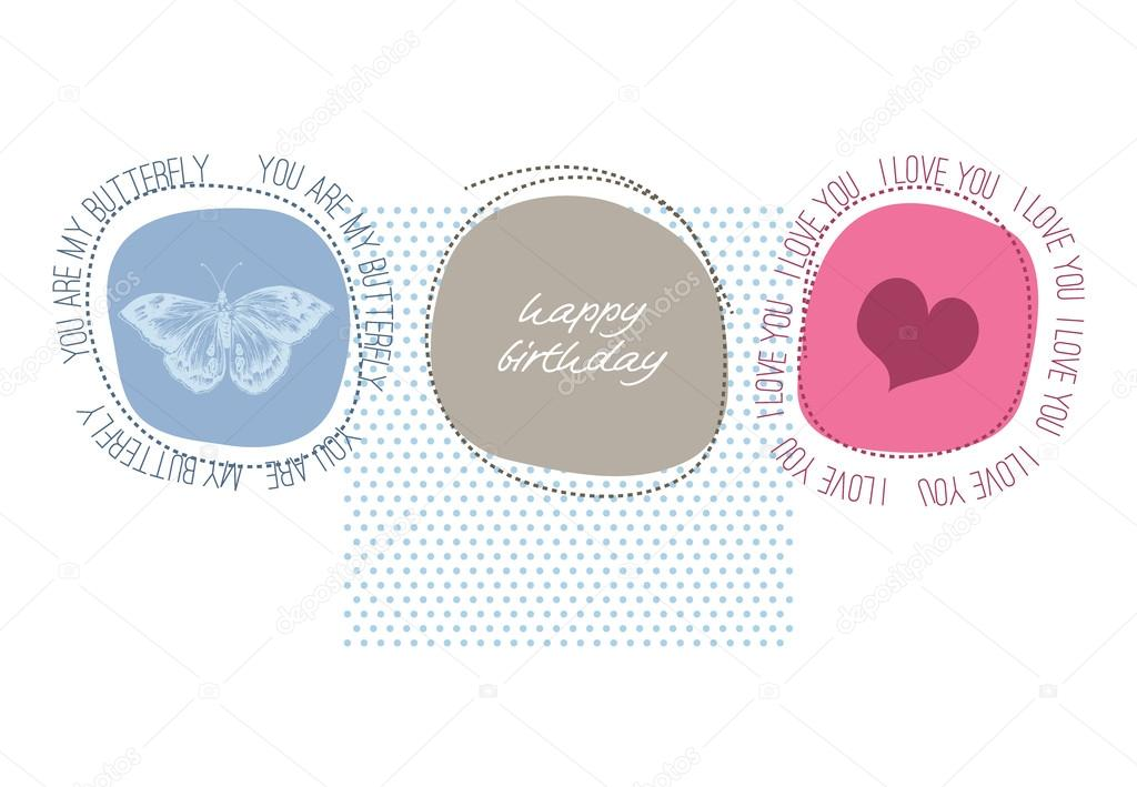 Cute Happy Birthday Card With Love Message Stock Illustration