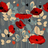Poppy flowers seamless pattern over grey