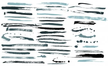 Set of grunge brushes ink strokes vector