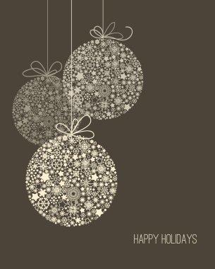 Elegant Christmas background, snowflake pattern baubles
