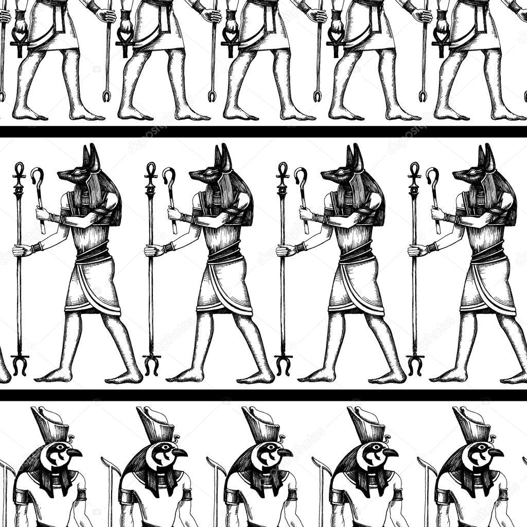 gráfico padrão sem emenda de hieróglifos egípcios vetores de stock